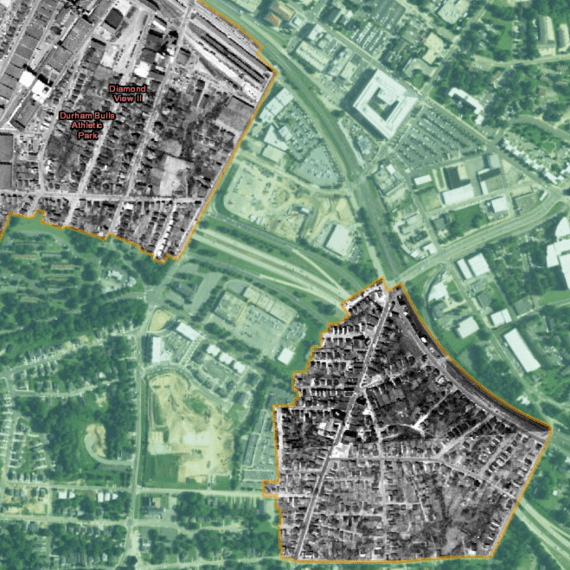 Map showing 1955 aerial photographs of Hayti neighborhood of Durham, North Carolina