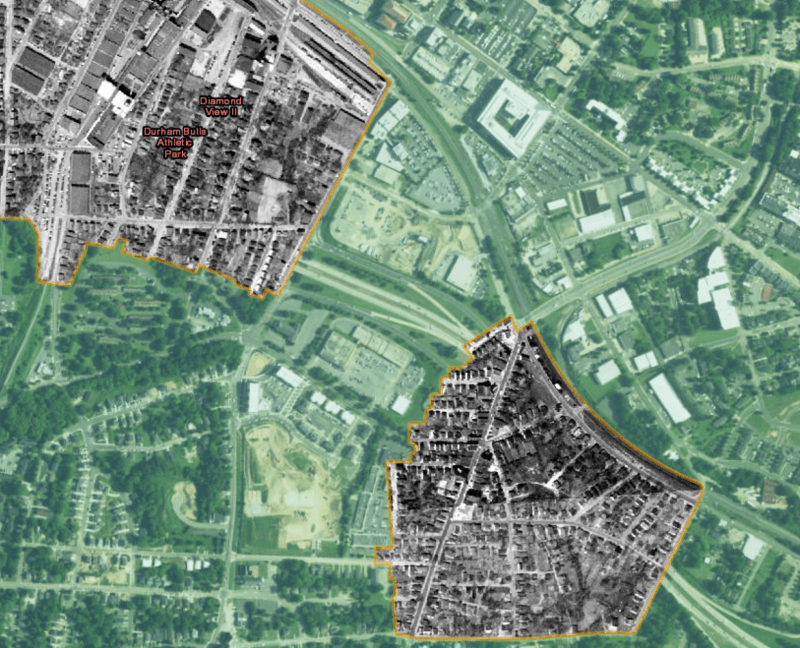 Aerial Photos Of Hayti Before Urban Renewal Map Bull City 150