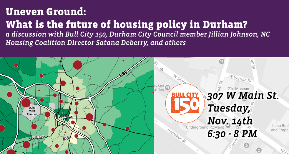 "Banner image promoting Nov 14, 2017 discussion ""Uneven Ground: What is the Future of Housing Policy in Durham?"""