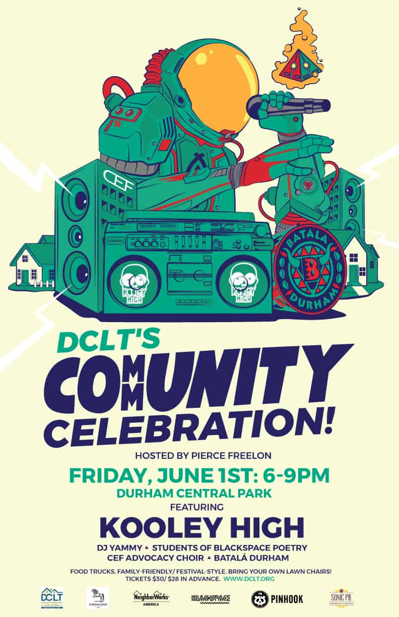 Flyer for DCLT Community Celebration, June 1 6-9 PM Durham Central Park
