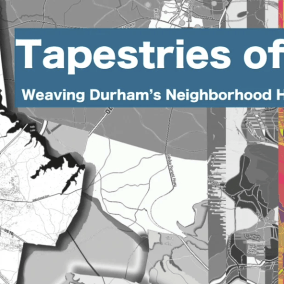 "Screenshot showing text saying ""Tapestries of home: Weaving Durham's Neighborhood Housing Histories"""